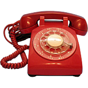 Vintage Red Desk Rotary Dial Phone 1964 Good Condition