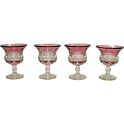 Four Vintage Tiffin-Franciscan Kings Crown Cranberry Flashed Liquor Cocktail Glass 1950-65 Good Condition