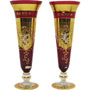 Pair of Vintage Bohemian/Czech Victorian Glass Vases Ruby with Gilt Paint Enamel Paint Flowers 1930s Good Condition