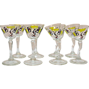 Vintage Gay Fad Novelty Martini Glasses 1950s Good Condition
