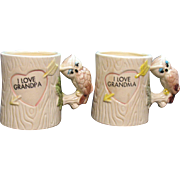 Vintage Grandma & Grampa Ceramic Cups Owl Handles 1970s Good Condition
