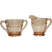 Vintage Jeannette Pink Sugar & Creamer Doric Pattern 1935-38 Good Condition