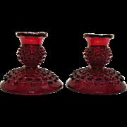 Vintage Fenton Hobnail Ruby Red Candleholder Single Light 1972-85 Good Condition