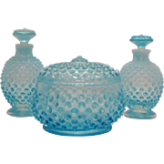 Vintage Fenton Blue Opalescent Hobnail Vanity Set Puff Box Perfume Bottles with Stoppers 1940-53