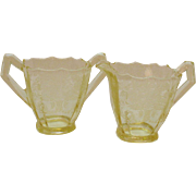 Vintage Paden City Yellow Sugar & Creamer with Gothic Etched Pattern 1916-51 Good Condition