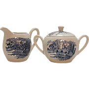 Vintage Enoch Wedgwood Blue Countryside Pattern Sugar & Creamer 1966-68 Good Condition
