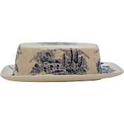 Vintage Enoch Wedgwood ¼ Pound Butter Dish Blue Countryside Pattern 1966-68 Good Vintage Condition