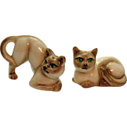 Vintage Siamese Cats S&P Shakers 1950s Original Corks Good Condition