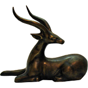 Vintage Brass Gazelle Figurine 1950s India Good Condition