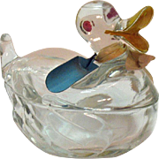 Vintage Glass Duck Sugar/Nut/Mints Bowl 1940-50s Vintage Condition