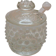Vintage Fenton Hobnail French Opalescent Mustard Jar with Glass Spoon 1939-64 Good Condition