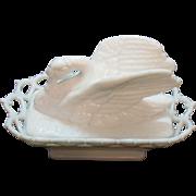 Vintage Westmoreland Milk glass Swan Covered Box 1950s