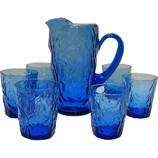 Vintage Seneca Pitcher & 6 Glasses Driftwood Delphine Blue 1970s Good Condition