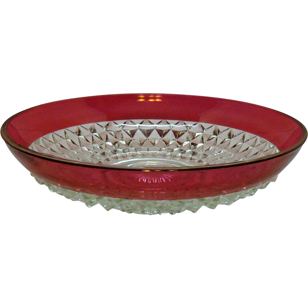 Vintage Salad Bowl by Indiana Glass Diamond Point Pattern with Ruby Band 1970s Good Condition