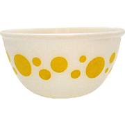 Vintage Milk Glass Bowl with Yellow Dots Possibly Hazel Atlas or McKee 1950-60s Good Condition