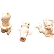Three Vintage Kewpie Like Porcelain Figurines 1960s Good Condition