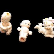 Three Vintage Kewpie Like Porcelain Figurines 1960s Good Condition