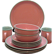 Vintage Stoneware Dishes by Ranmaru in Pomona Pink 1960s Like new Condition