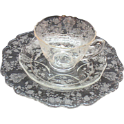 Twelve Sets Vintage Cambridge Rose Point Etching Pattern on Cup Saucer Salad Plates Looks Unused 1934-58 Good Condition