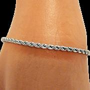 Vintage 1960s Sterling Silver Fancy Twisted Rope Style Bracelet