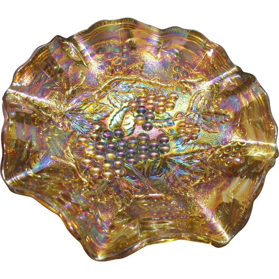 Vintage Imperial Grape Carnival Glass Bowl Marigold with nice Iridescence 1920-30s Good Condition