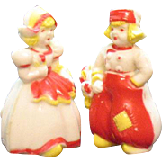 Vintage Plastic Dutch Kids S&P Shakers 1950s Good Vintage Condition