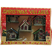 Vintage Christmas Village Tree Ornaments 1950s Original box Good Condition