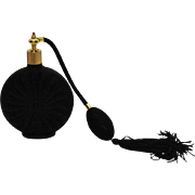 Vintage Black Satin Glass Perfume Bottle 1970-80s Good Condition