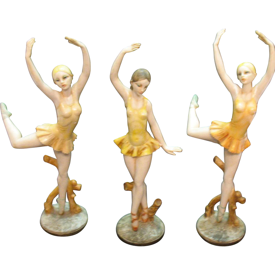 Three Vintage Italy Made Ballerina Figurines 1950s Good Condition