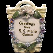 Vintage Porcelain Souvenir S.S. Marie Canada Made in Germany Trinket Holder 1920-30s Vintage Condition