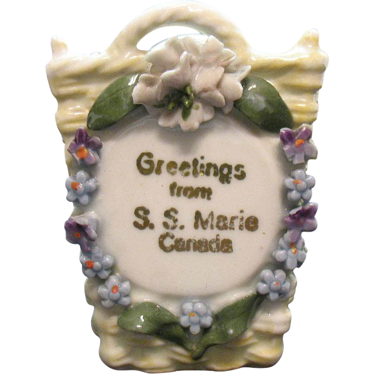 Vintage Porcelain Souvenir S.S. Marie Canada Made in Germany Trinket Holder 1920-30s Vintage Condition
