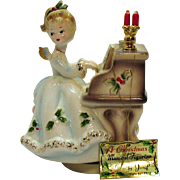 Vintage Josef Original Christmas Musical Figurine Music Box Works Good Condition