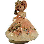 Vintage 1970s Josef Original Young woman Music Box Plays Amazing Grace still Works Good Condition