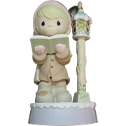 Vintage Rare Enesco Animated Precious Moment Choir Boy by Lighted Lamp Post Plays Come All Ye Faithful 1995 Good Working Condition