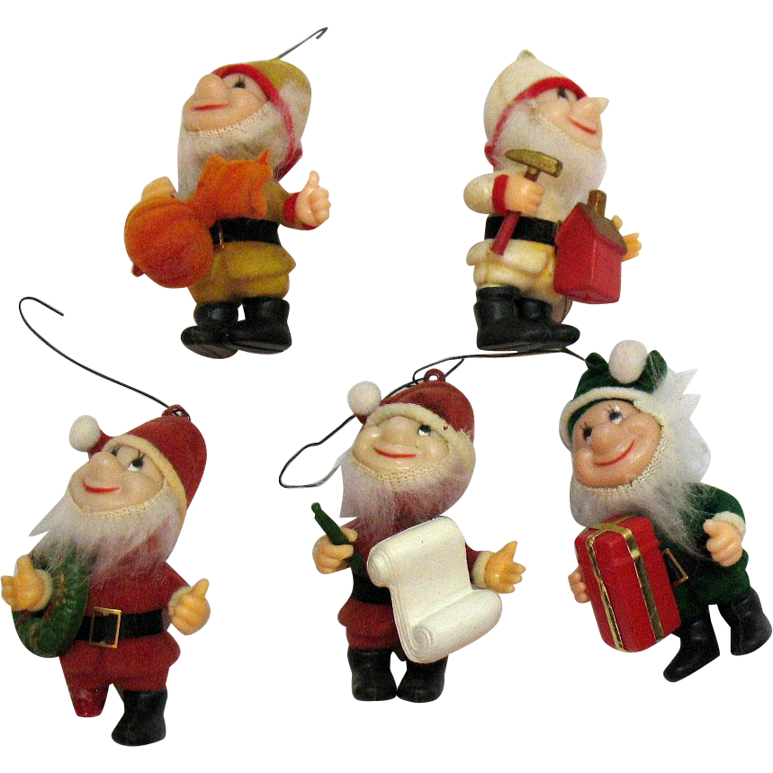 Vintage 5 Little Santa Elf Helpers Christmas Ornaments 1950s Good Vintage Condition