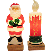 Vintage Lighted Plastic Santa & Candle 1995 Hard Plastic Work/Good Condition