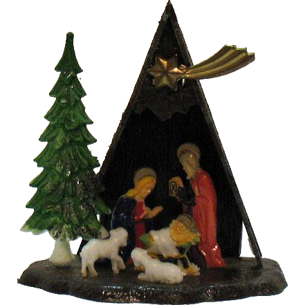 Vintage Miniature Nativity Scene/Display Plastic 1950s Complete Good Condition