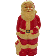 Vintage Standing Santa Hard Plastic Figurine with Light in Back 1960s good Condition