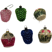 Six Vintage Glass Christmas Ornaments 1930-40s Japan Berries & Baskets Vintage Condition