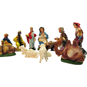 Vintage 14 Piece Italy Nativity Scene/Display Resin Composition 1950s Good Condition