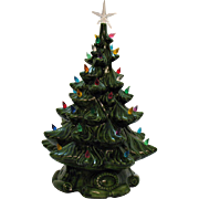 Vintage Green Ceramic Christmas tree with Faux Plastic Lights Atlanta Mold 1974 Good Condition