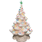 Vintage White Ceramic Christmas tree Lights up Faux Plastic Lights 1970s Good Condition