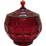 Vintage Indiana Glass Ruby Red Cookie/Biscuit Jar For Tiara 1980s Good Condition