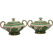 Two Green Willow Transferware Sugar Bowls by John Steventon & Sons Ltd Made in England 1923/36 Good Condition