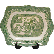 Vintage Green Willow Transferware Platter John Steventon & Sons Ltd Made in England 1923-36
