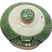 Vintage Green Willow Transferware Pattern on Teapot Lid by John Steventon & Sons Ltd 1923-36 Vintage Condition