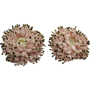 Vintage Candle Holders Center Piece Display with Mercury Beads attached to Chenille 1950s Good Condition