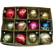 Vintage Box Christmas tree Ornaments Stenciled & Hand painted Shiny Brite/Others 1950s Vintage Condition