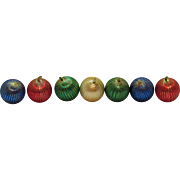 7 Vintage 1960s Satin Wrapped Christmas tree Ornaments with Silver Thread Added Good Condition
