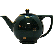 Vintage Hall 8 Cup Star Teapot Turquoise with Standard Gold 1940-50s Good Condition
